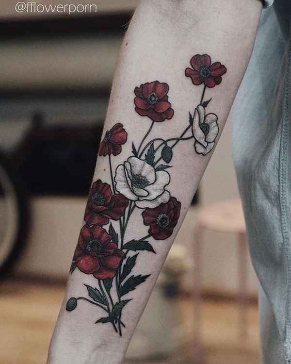 7618a777380f3 Bloody Poppies Tattoos for Women. 30+ Beautiful Flower Tattoo Designs.