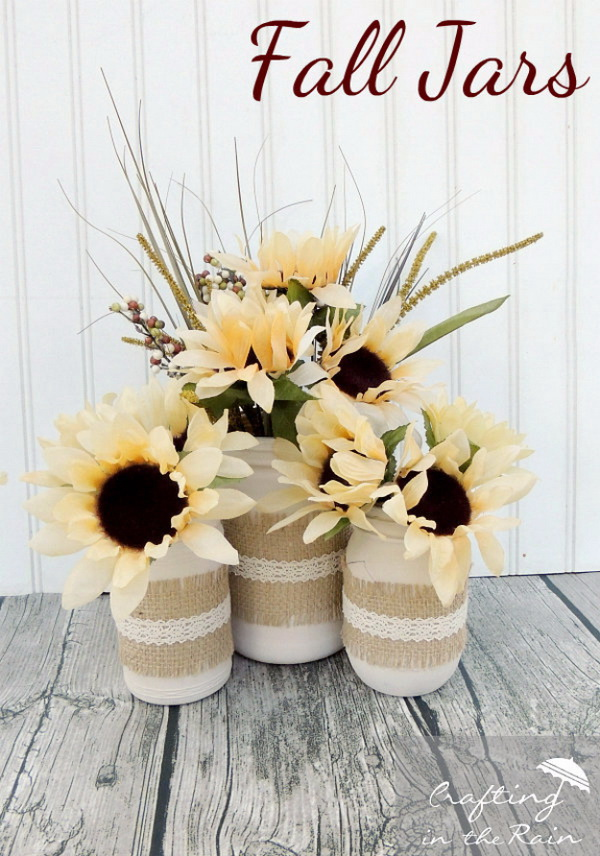 b42743173e3 Fall Jars With Dollar Store Flowers. Turn the simple mason jars into these  awesome rustic