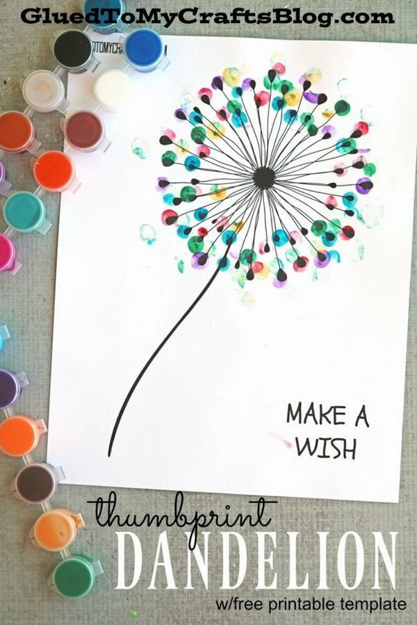Kid Craft Ideas Part - 41: Easy Kids Craft Ideas: Thumbprint Dandelion Kid Craft.