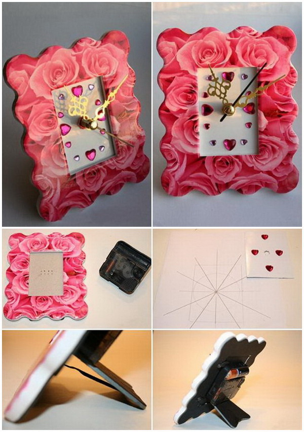 Roses Pattern Photo Frame Clock
