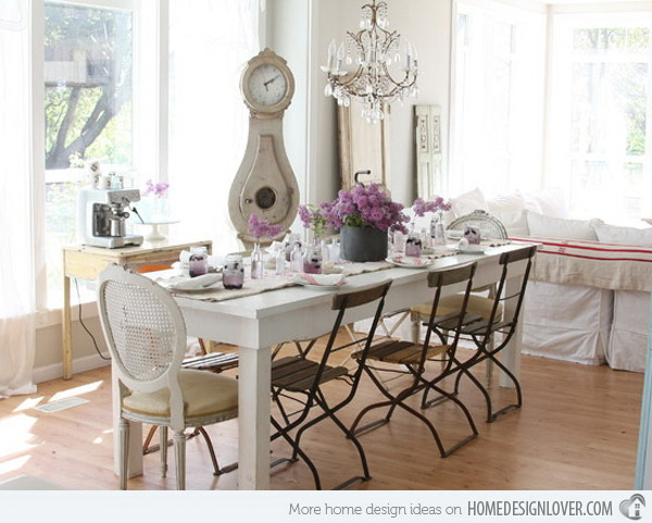 Dreamy White Shabby Chic Dining Room So Pretty And Charming